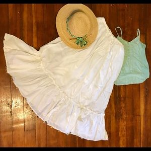 White boho peasant skirt